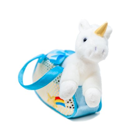 "Aurora Unicorn Fancy Pals Pet Carrier, Blue and White Purse, Gold Polka Dots Rainbow Star, 8"" Flopsie Plush for $<!---->"