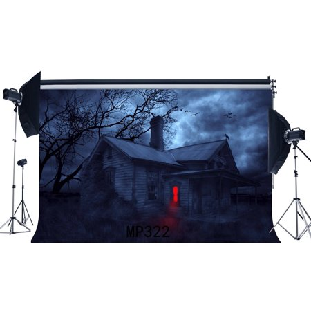 HelloDecor Polyster 7x5ft Gothic Backdrop Halloween Horror Night Rustic Wood House Old Tree Flying Birds Grass Field Gloomy Fantasy Photography Background Kids Adults Masquerade Photo Studio Props - Halloween Clipart Background