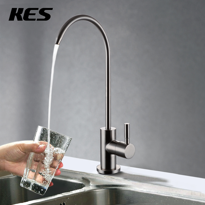 KES Lead-Free Beverage Faucet Drinking Water Filtration System 1/4-Inch Tube, Brushed Stainless Steel, Z501A