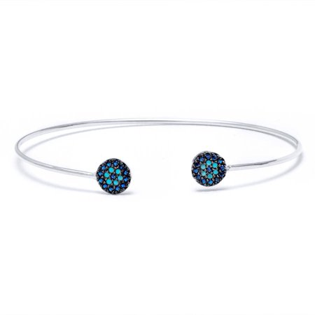 .925 Sterling Silver Bangle with Sapphire and Nano Turquoise