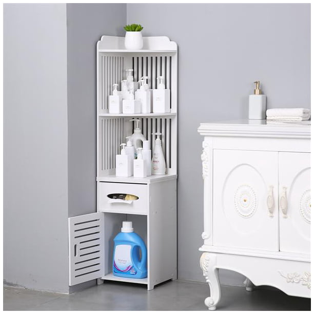 Bathroom Storage Corner Floor Cabinet With Doors And Shelves Thin Toilet Vanity Cabinet Narrow Bath Sink Organizer Towel Storage Shelf For Paper Holder Walmart Com Walmart Com
