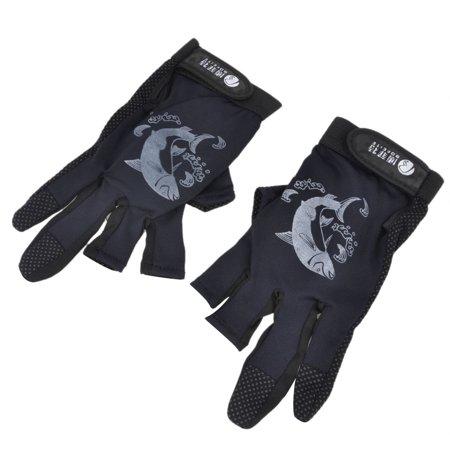 Outdoor sports exposed 3 fingerless nonslip finger protect for Fishing gloves walmart