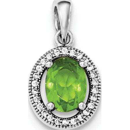 925 Sterling Silver Rhodium-plated w/ Light Green & White CZ Oval Pendant / Charm - image 1 of 2