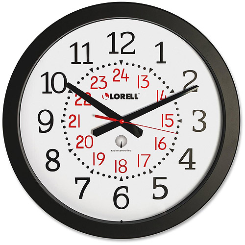 "Lorell 14"" Radio Controlled Black Wall Clock with Military Time"