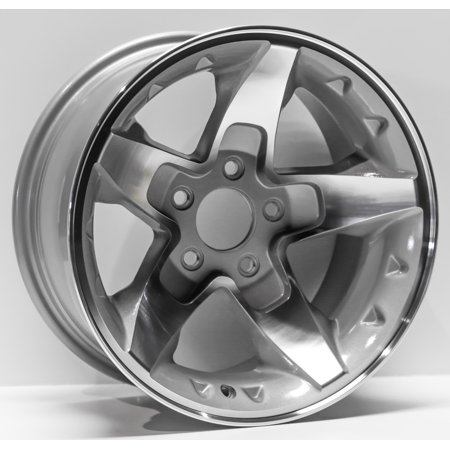 "2001 - 2005 Chevrolet S10 Extreme Blazer, S10 Truck, GMC Sonoma Replacement Wheel 16X""8"" Aftermarket 5 Lug on 95.25mm/3.75"" Bolt Diameter, -6mm offset, 5 Spoke, Silver Machined"