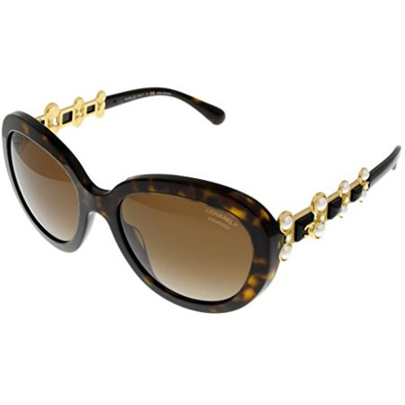 Chanel Bijou Sunglasses Oval Women Tortoise Pearls Polarized CH5334 HB 714S9 Size: Lens/ Bridge/ Temple: 56-19-140