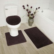 """3-PC (#6) Brown HIGH QUALITY Jacquard Bathroom Bath Rug Set Washable Anti Slip Rug 18""""x28"""", Contour Mat 18""""x18"""" and Toilet Seat Lid Cover 18""""x19"""" with Non-Skid Rubber Back"""