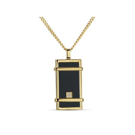 Stainless Steel Gold Plating CZ Carbon Fiber Dogtag Necklace 24 Inch