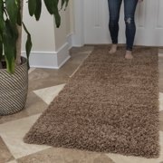 Ottomanson Ultimate Shaggy Contemporary Solid Runner Rug, Beige, 2'X5'