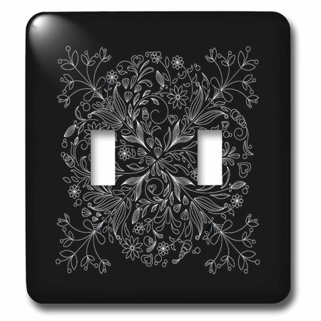 3dRose Pretty Lacey Flower Decorated Square In White On A Black Background - Double Toggle Switch (lsp_78373_2)
