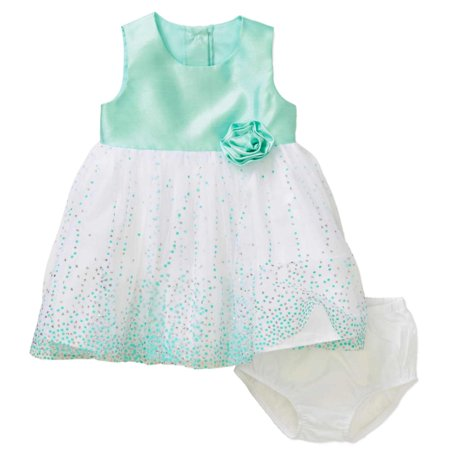 Baby Holiday Dresses (Infant Girls Mint Green & Silver Polka Dot Satin Baby Easter & Holiday)