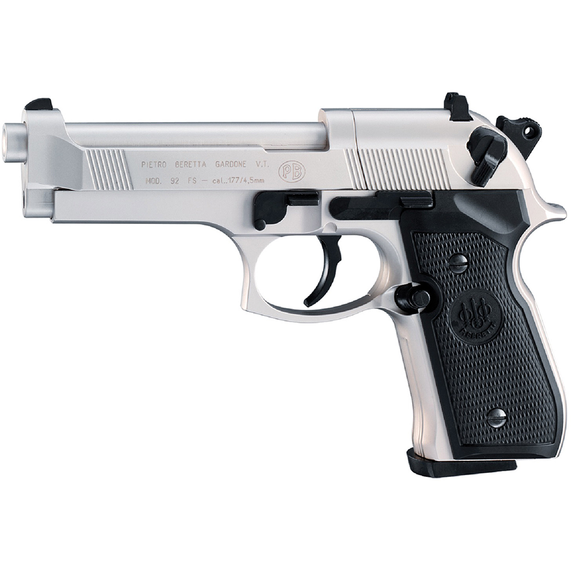 Beretta M 92 Air Gun, FS 8 Shot Rotary, Nickel/Black