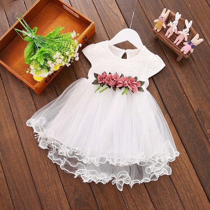 New Toddler Baby Girls Princess Wedding Bridesmaid Party Flowers Lace Tutu Dress