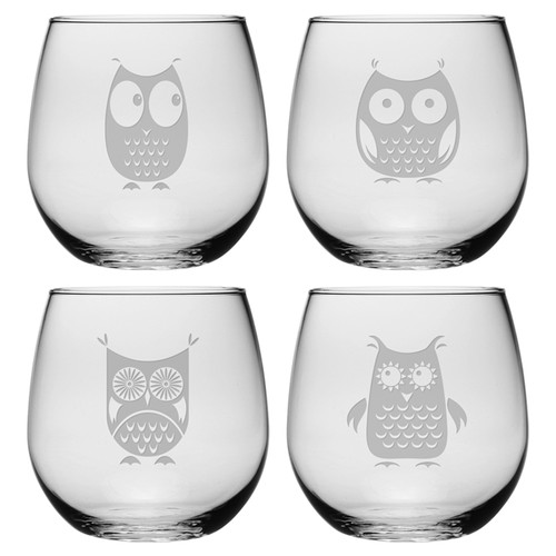 Susquehanna Glass Hoot 4 Piece 21 oz. Stemless Wine Glass Set