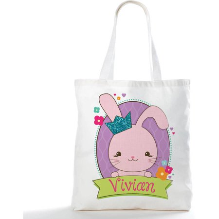 Boy Bunny or Girl Bunny Personalized Easter Tote Bag (Personalized Bunny)