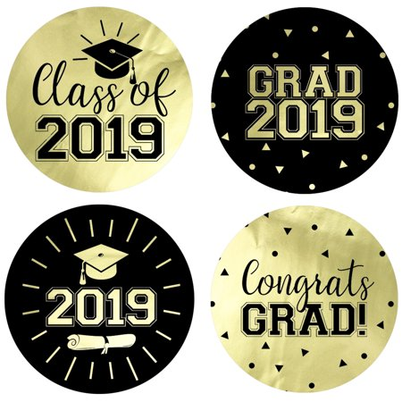Gold Foil Graduation Party Stickers 40 ct | 1 3/4 inch | Class of 2019  Favor Labels