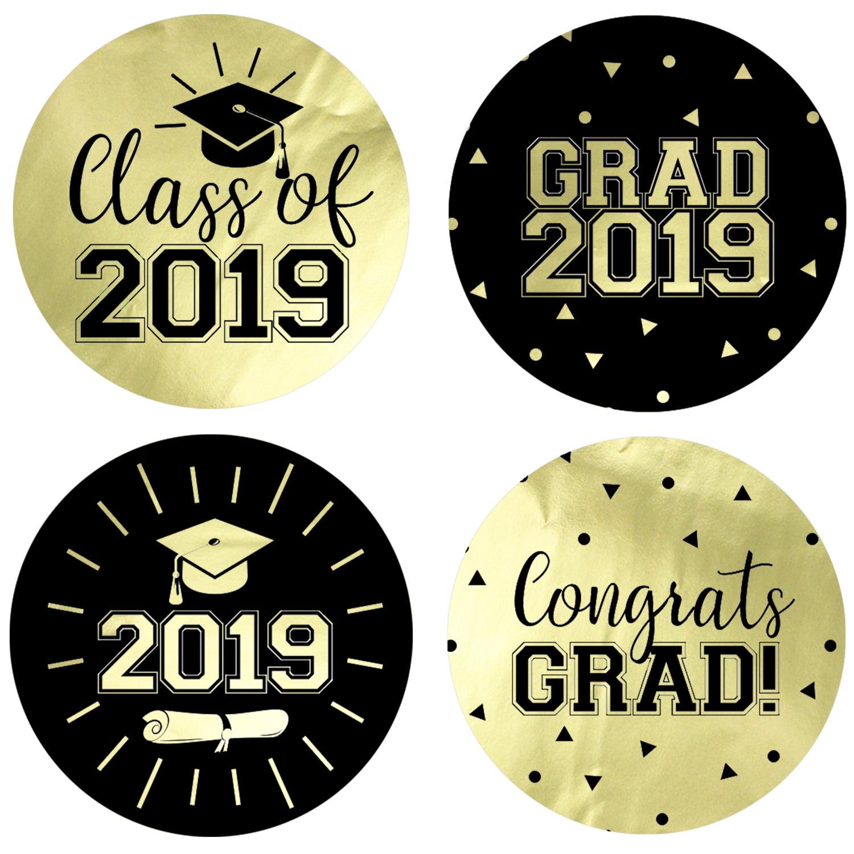 Gold Foil Graduation Party Stickers 40 ct   1 3/4 inch   Class of 2019 Favor Labels