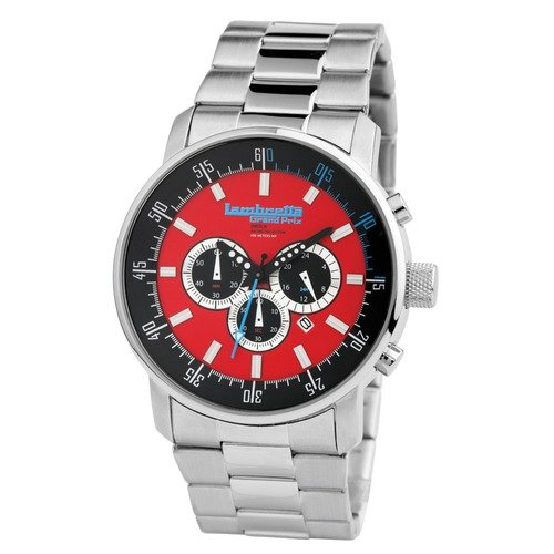 Lambretta Imola Men's Watch with Silver Metal Band and Red Dial