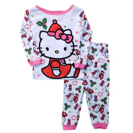 33d84010a Hello Kitty - Hello Kitty Infant & Toddler Girls White Mrs Claus Sleep Set Pajamas  Pjs - Walmart.com