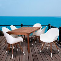 International Home Amazonia Charlotte 7 Piece Patio Dining Set in White