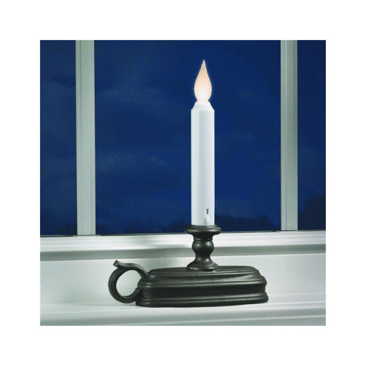 FPC1525A Battery Operated LED Window Candle with Sensor, Black, Large BaseThree settings: off, on (flickering), on (steady burning) By Xodus Innovations