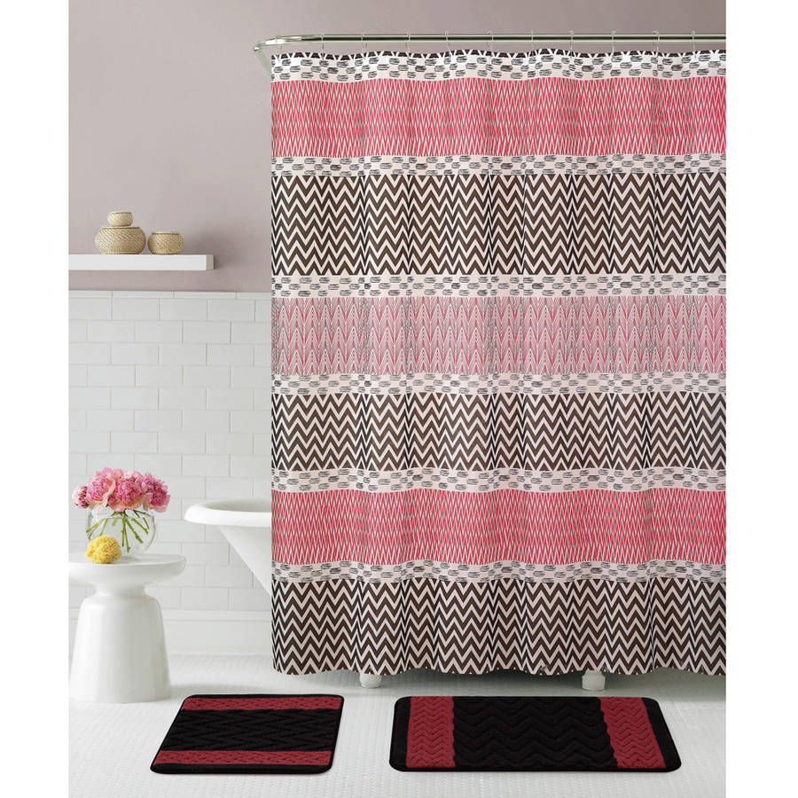 VCNY Home Tori 15-Piece Chevron Stripe Polyester Bath Set, Shower Curtain and Bath Rugs Included