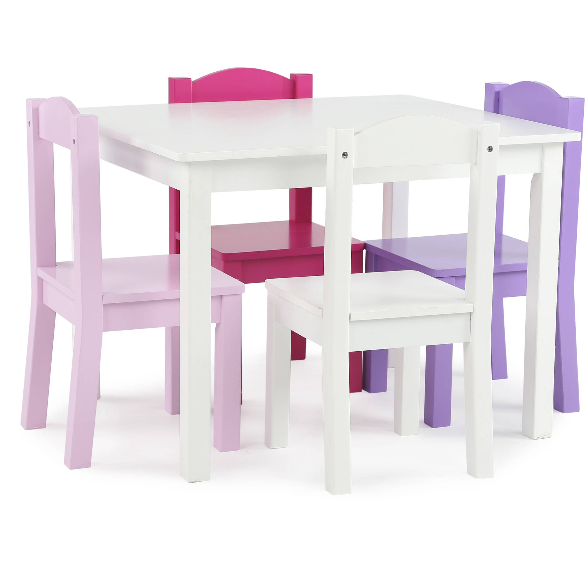 Tot Tutors Kids Wood Table and 4 Chairs Set, Multiple Colors by Humble Crew Inc