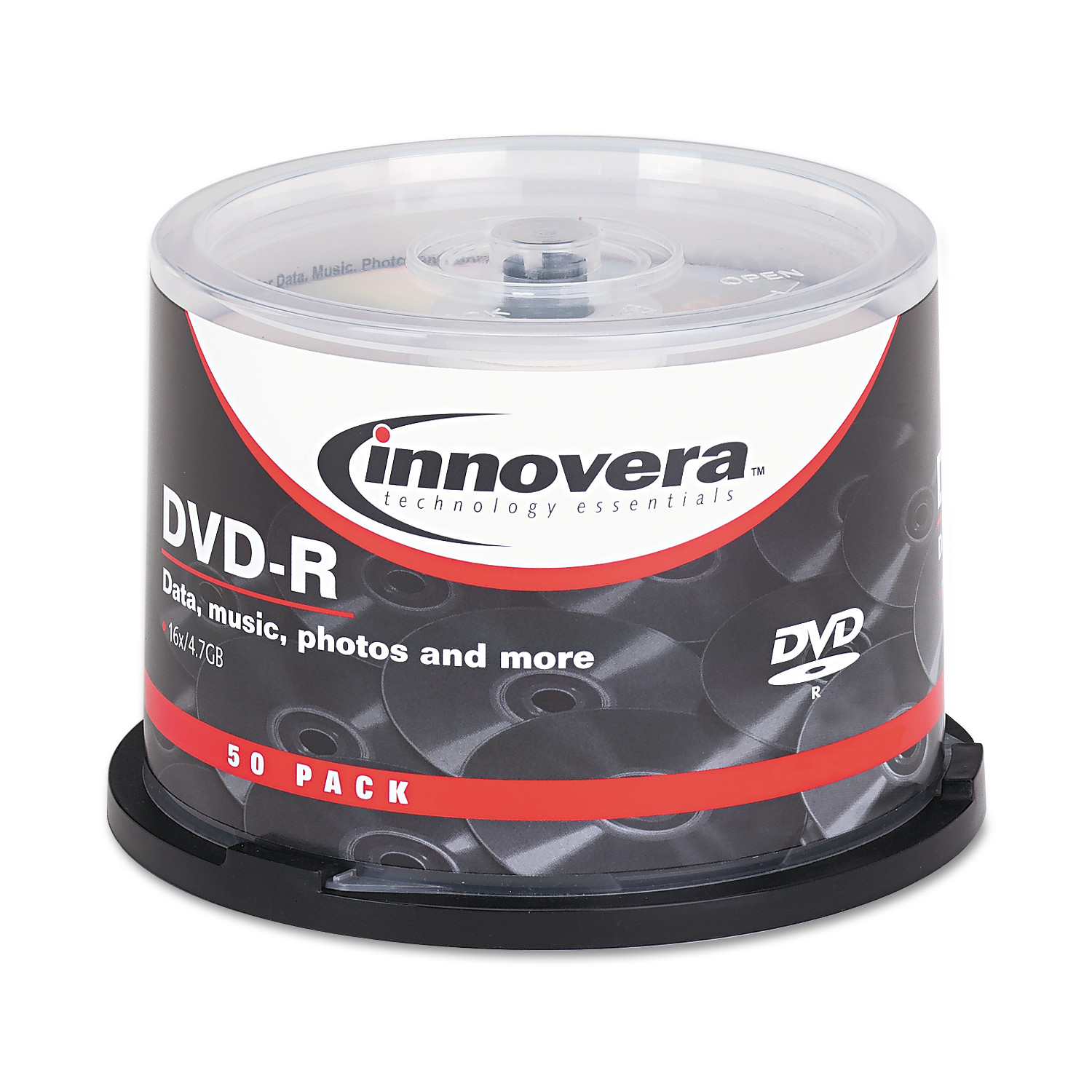 Innovera DVD-R Discs, 4.7GB, 16x, Spindle, Silver, 50/Pack -IVR46850