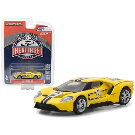 2017 Ford GT Yellow #2 - Tribute to 1967 Ford GT40 MK IV #2 Racing Heritage Series 1 1/64 Diecast Model Car by Greenligh