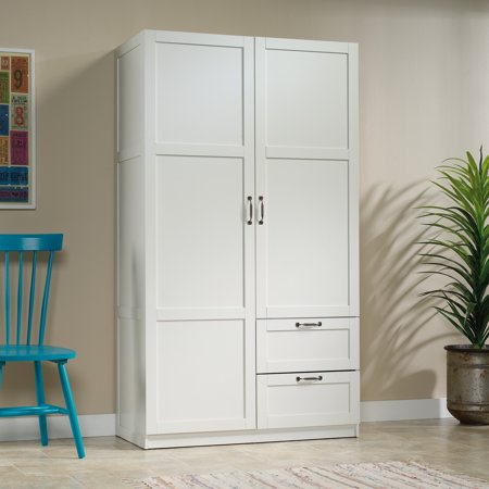 Sauder Select Wardrobe Armoire, White Finish 2 Door Walnut Armoire