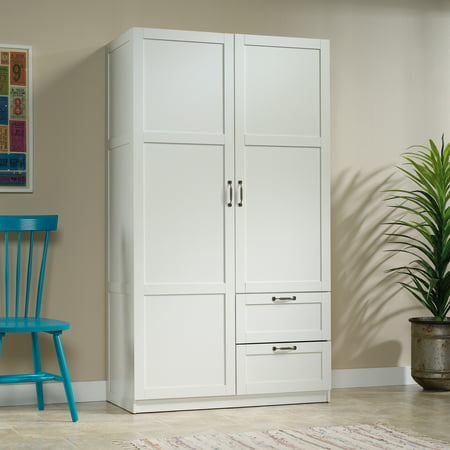 Sauder Select Wardrobe Armoire, White Finish 2 Drawer Maple Armoire