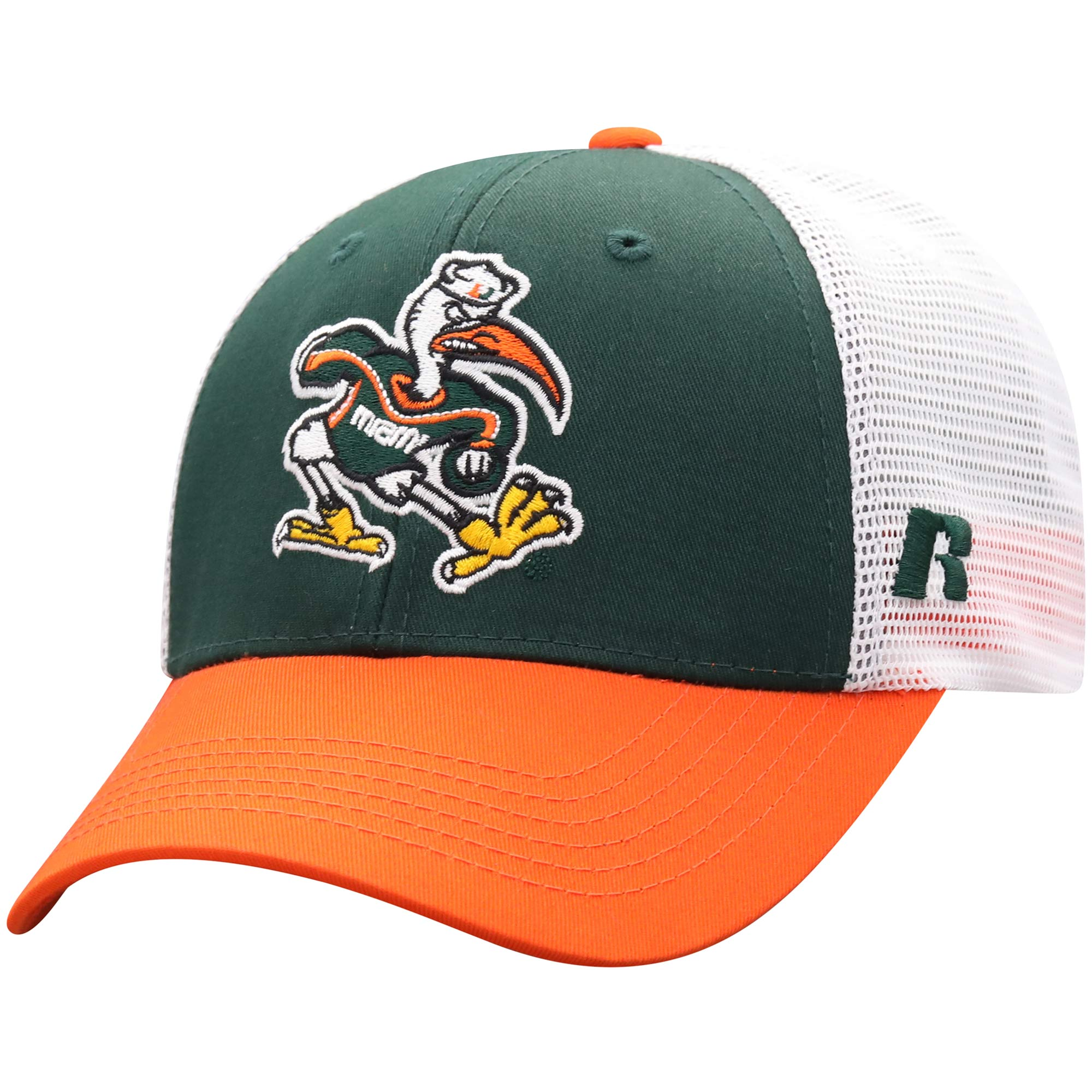 Men's Russell Green/White Miami Hurricanes Steadfast Snapback Adjustable Hat - OSFA