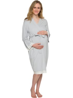 Silver Lilly Lace Trim Maternity Delivery Nursing Kimono Bath Robe