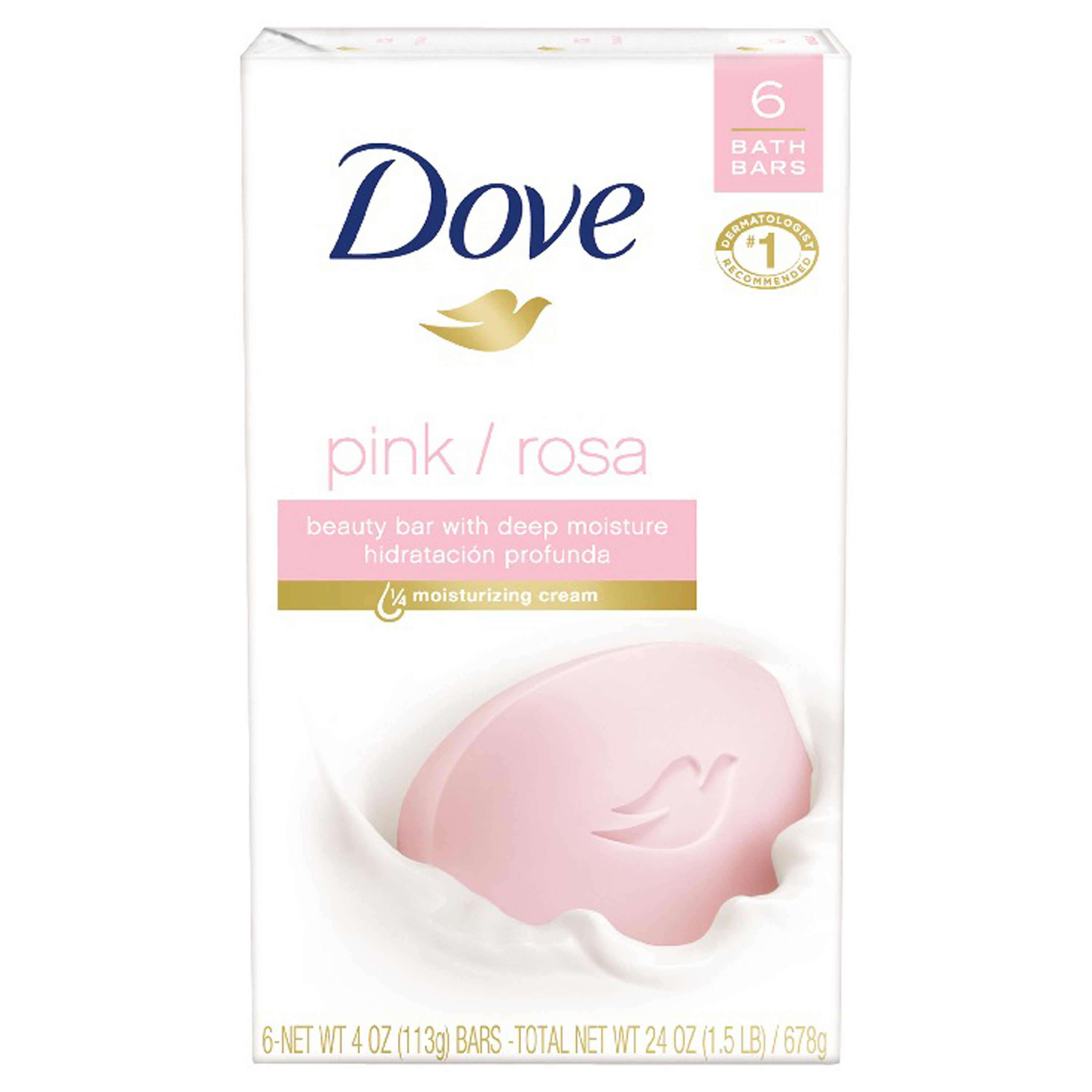 Dove Pink Beauty Bar, 4 oz, 6 Bar