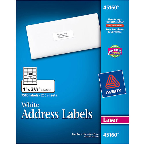 Avery White Address Labels for Laser Printers , 1 x 2-5/8, White, 7500/Box