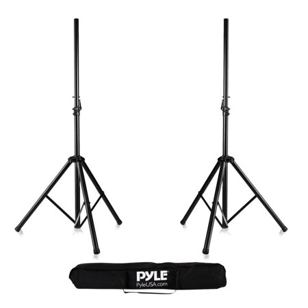 Pyle Universal Dual PA DJ Tripod 2 Speaker Stand Kit With Adjustable Height & Storage Bag Constructed with Heavy Duty Durable Steel and Lightweight for Easy Mobility Safety PIN Screw (Screwed Pa)
