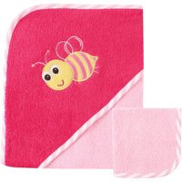Luvable Friends Newborn Baby Girl Hooded Towel & Washcloth