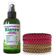 Kinven Anti Mosquito Repellent Bundle - (4oz Spray + 4 Bracelet, Red&Brown)