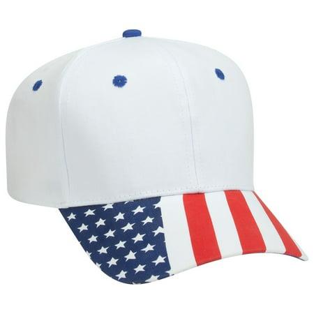 OTTO United States Flag Pattern Visor Cotton Twill 6 Panel Pro Style Baseball Cap - White (Flag Visor Pro Style Cap)