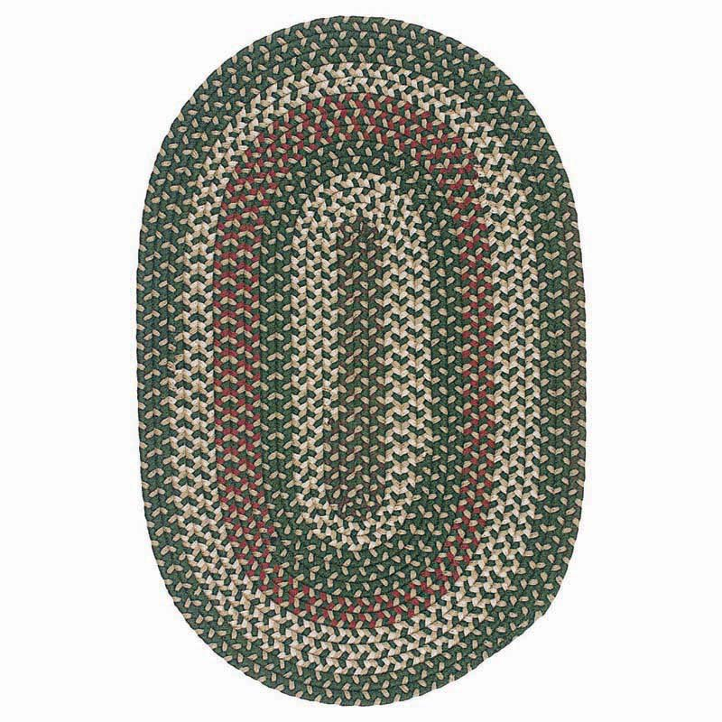 Colonial Mills Brook Farm Indoor/Outdoor Braided Rug - Winter Green- 2 x 3 ft. Oval