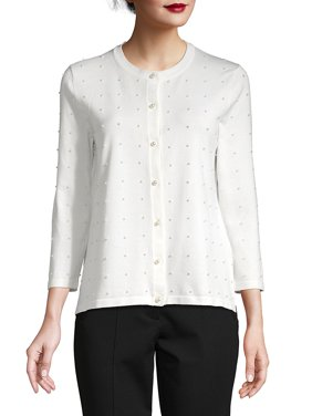 Faux Pearl-Embellished Cardigan
