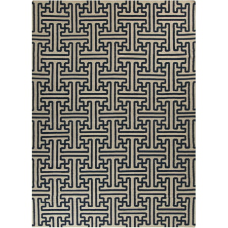 8' x 11' Block Pillars Mossy Gold and Dark Slate Blue Wool Area Throw Rug ()