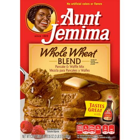(4 pack) Aunt Jemima Whole Wheat Blend Pancake & Waffle Mix, 35 oz Box