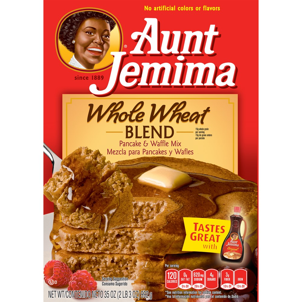 Aunt Jemima Whole Wheat Blend Pancake & Waffle Mix 35 oz. Box