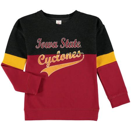 Iowa State College Fleece (Iowa State Cyclones Colosseum Girls Youth Rockyroad Pullover Fleece Crew Sweatshirt - Heathered Black/Cardinal )