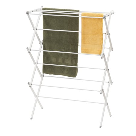 Household Essentials Collapsible Folding Metal Clothes Drying Rack for Laundry, White Folding Clothes Rack