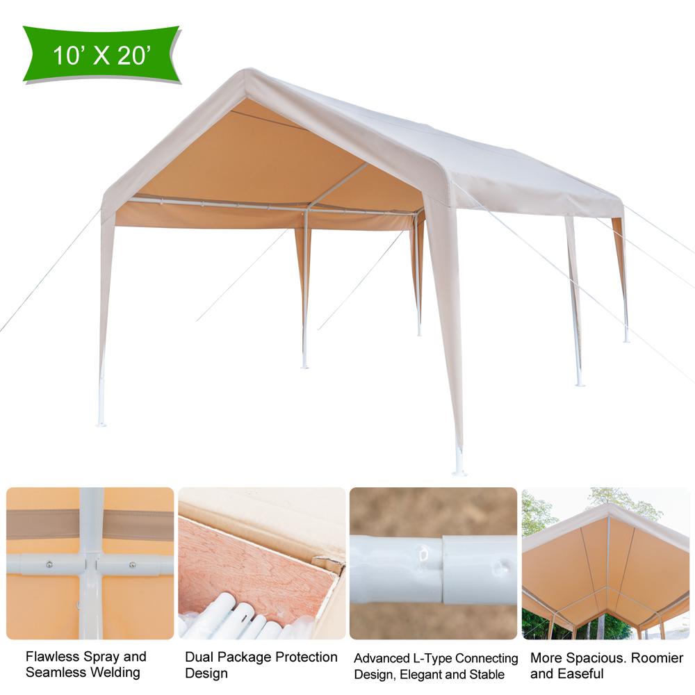 Zimtown Carport Heavy Duty Canopy Carport Wedding Party Tent No Sidewall 20'X10'
