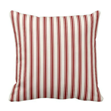 WOPOP Classic Ticking Stripe Pattern Red and Cream Pillowcase Throw Pillow Cover 18x18 inches ()