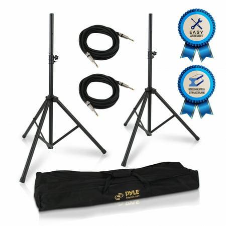 PYLE PMDK102 - Stage & Studio DJ Speaker Stand Kit - Pro Audio PA Loudspeaker Stands & Audio Cable, Storage Bag (1/4'' -inch Connector)
