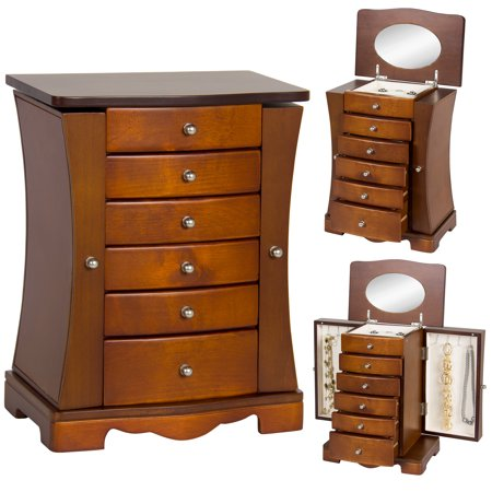 Best Choice Products Handcrafted Wooden Jewelry Box Organizer Wood Armoire Cabinet Storage Chest - -